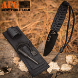 Paracord Knife with Fire Starter, Engraved with Hunting Deer Buck Antlers