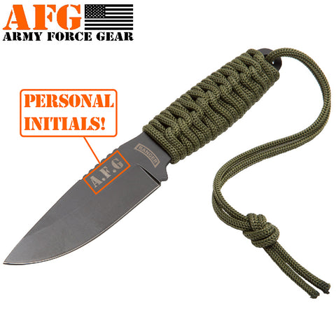 Paracord Knife with Fire Starter, Engraved with US Army Military Ranger