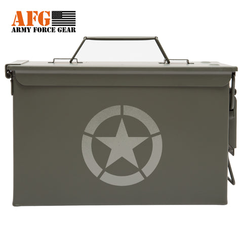 Metal Ammo Can with Laser Engraved Jeep Star World War
