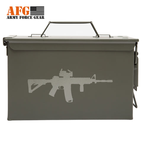 Metal Ammo Can with Laser Engraved M4 Riffle Silhouette
