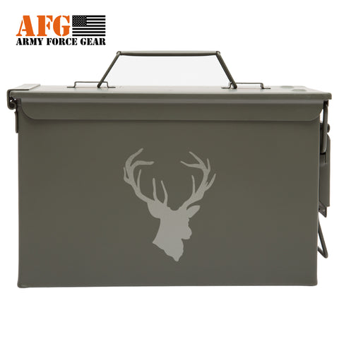 Metal Ammo Can with Laser Engraved Hunting Deer Buck Antlers