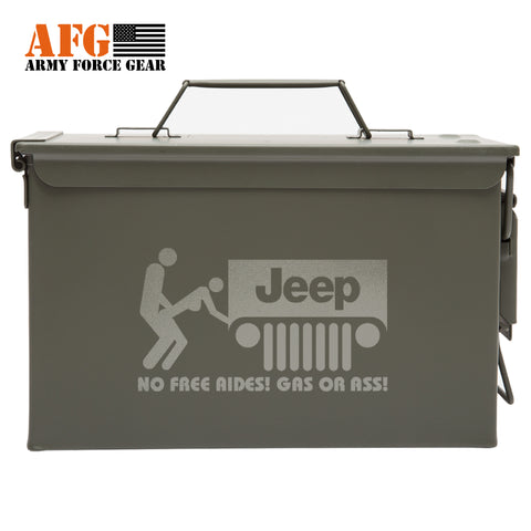 Metal Ammo Can with Laser Engraved No Free Rides