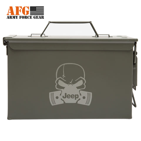Metal Ammo Can with Laser Engraved Deadly Jeep
