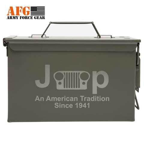 Metal Ammo Can with Laser Engraved Jeep An American Tradition