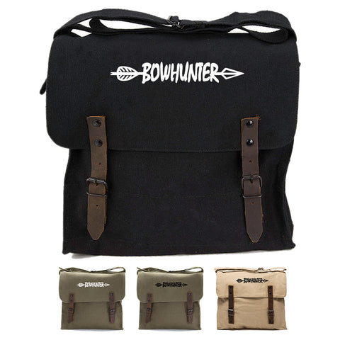 Bow Hunter with Arrow Army Heavyweight Canvas Medic Shoulder Bag