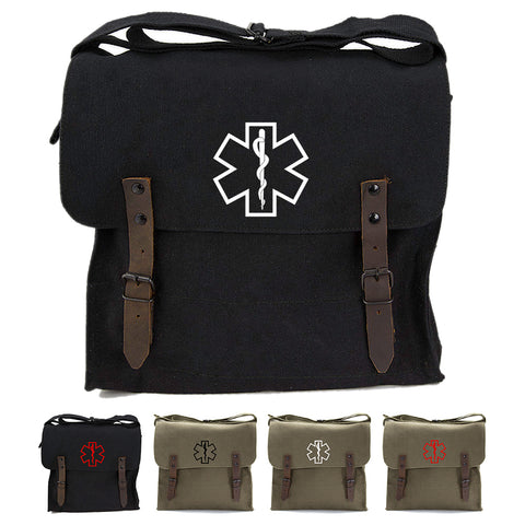 Star of Life Medical Logo Army Heavyweight Canvas Medic Shoulder Bag