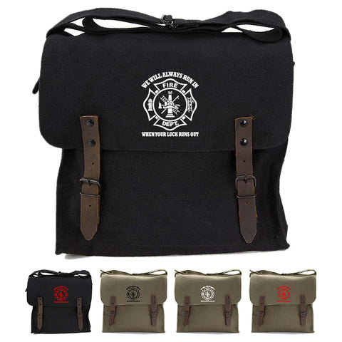 We Will Always Run in When Your Luck Has Run Out Army Canvas Medic Shoulder Bag