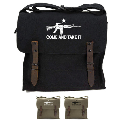 Come and Take it M4 Assault Rifle Army Heavyweight Canvas Medic Shoulder Bag