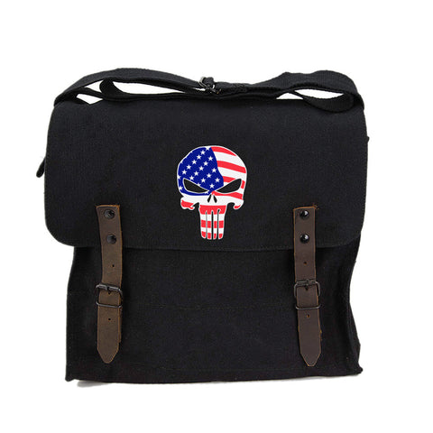 American Flag Punisher Skull Army Heavyweight Canvas Medic Shoulder Bag