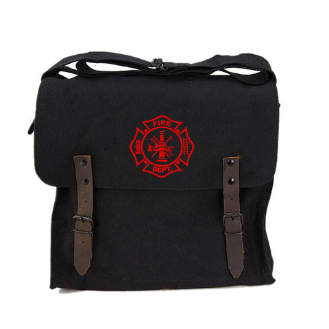 Fire Department Maltese Cross Army Heavyweight Canvas Medic Shoulder Bag