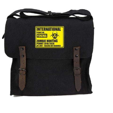 International Zombie Hunting Permit Heavyweight Canvas Medic Shoulder Bag