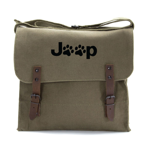 Jeep Wrangler Cat Dog Paw Prints Army Heavyweight Canvas Medic Shoulder Bag