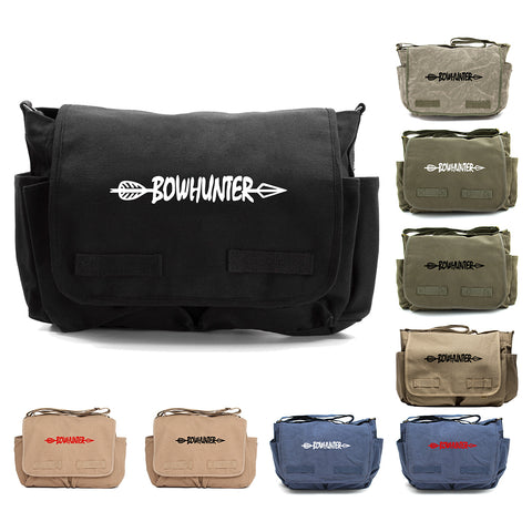 Bow Hunter with Arrow Army Heavyweight Canvas Messenger Shoulder Bag