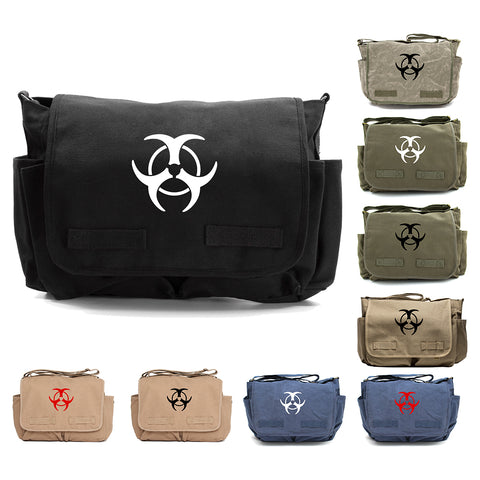 Biohazard Warning Symbol Army Heavyweight Canvas Messenger Shoulder Bag