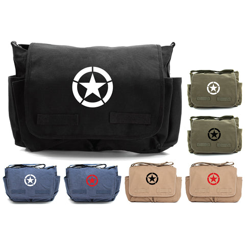World War 2 Military Jeep Star Army Heavyweight Canvas Messenger Shoulder Bag