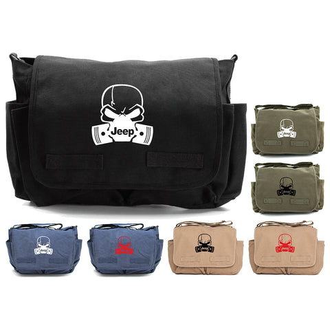 Deadly Skull and Pistons Jeep Army Heavyweight Canvas Messenger Shoulder Bag