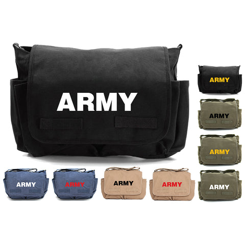 Army Text Military Heavyweight Canvas Messenger Shoulder Bag
