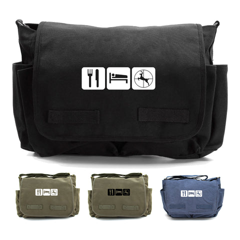 Eat Sleep Hunt Army Heavyweight Canvas Messenger Shoulder Bag