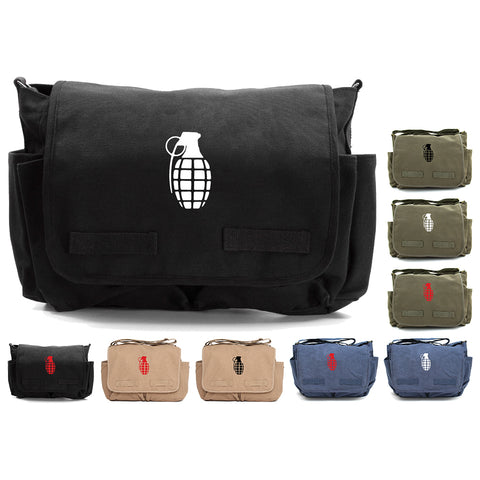 Hand Grenade Army Heavyweight Canvas Messenger Shoulder Bag
