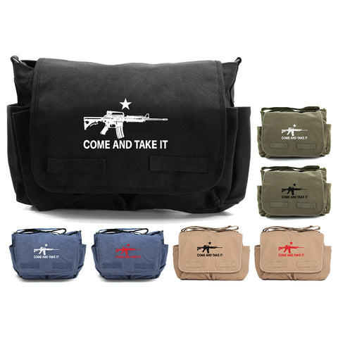 Come and Take it M4 Assault Rifle Army Heavyweight Canvas Messenger Shoulder Bag