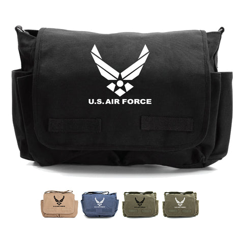 United Sates Air Force Emblem Army Heavyweight Canvas Messenger Shoulder Bag