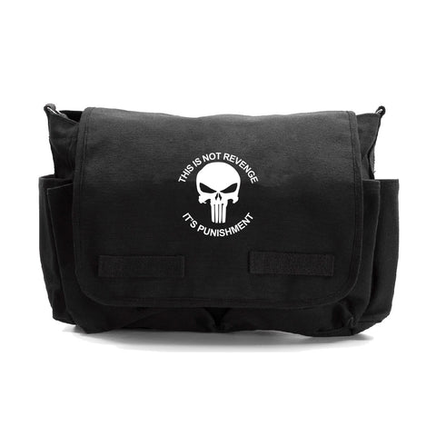 Punisher Skull It's Not Revenge Its Punishment Canvas Messenger Shoulder Bag