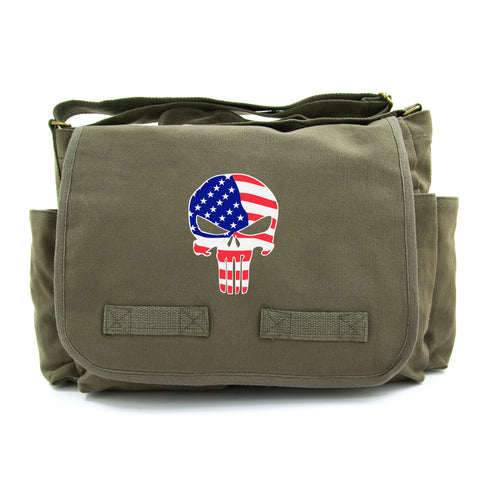 American Flag Punisher Skull Army Heavyweight Canvas Messenger Shoulder Bag