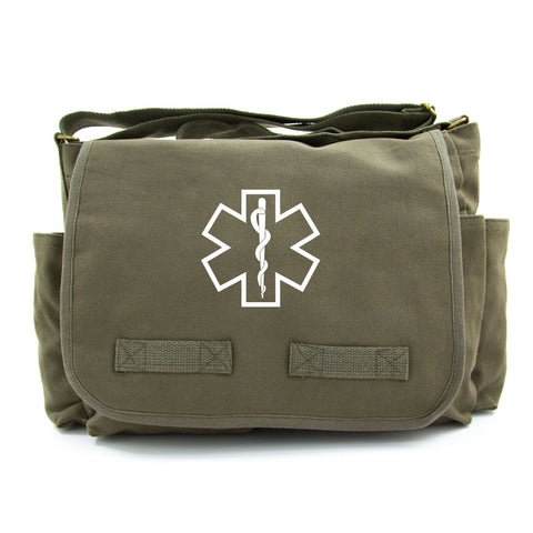Star of Life Medical Logo Army Heavyweight Canvas Messenger Shoulder Bag