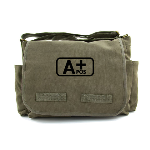 Army Force Gear Blood Type A+ Pos Heavyweight Canvas Messenger Shoulder Bag