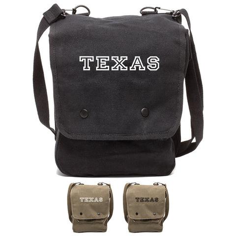 Texas Canvas Crossbody Travel Map Bag Case