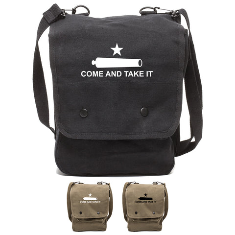 Texas Come And Take It Canvas Crossbody Travel Map Bag Case