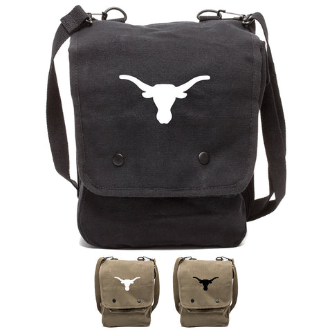 Texas Longhorn Canvas Crossbody Travel Map Bag Case