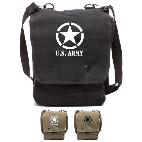 U.S. Army Star Military Canvas Crossbody Travel Map Bag Case
