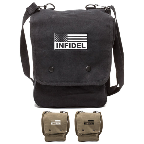 Tactical American Flag Infidel Canvas Crossbody Travel Map Bag Case