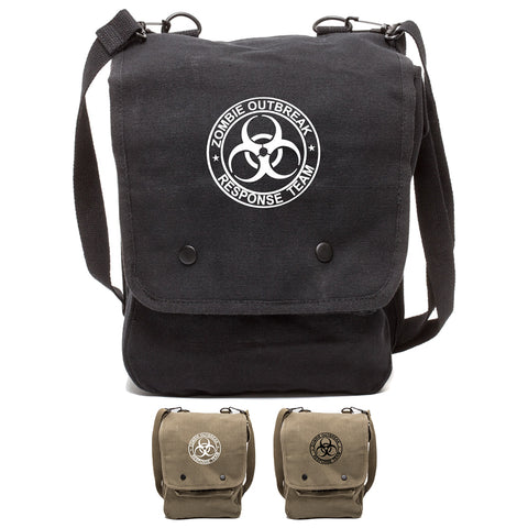 Zombie Outbreak Response Team Canvas Crossbody Travel Map Bag Case