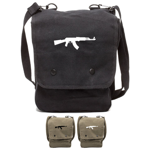 AK-47 Assault Rifle Canvas Crossbody Travel Map Bag Case