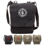 Fire Department Maltese Cross Canvas Crossbody Travel Map Bag Case