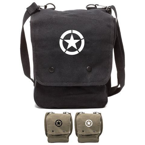 World War 2 Military Jeep Star Canvas Crossbody Travel Map Bag Case