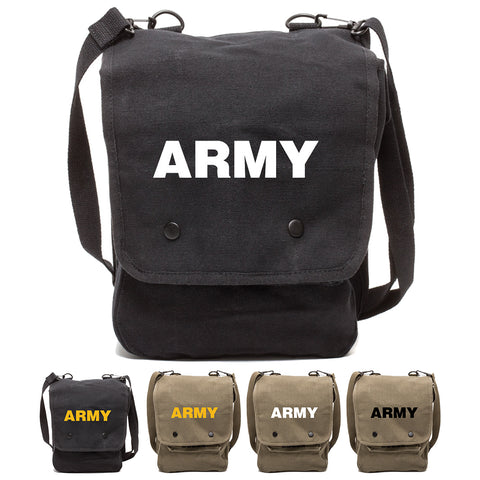Army Text Canvas Crossbody Travel Map Bag Case