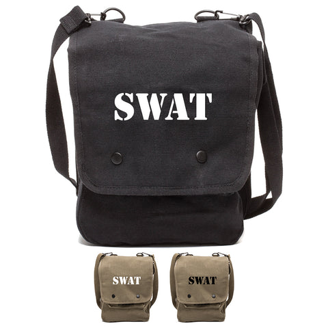 SWAT Team Text Canvas Crossbody Travel Map Bag Case