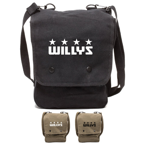 Willys Jeep Freedom Stars Military Canvas Crossbody Travel Map Bag Case