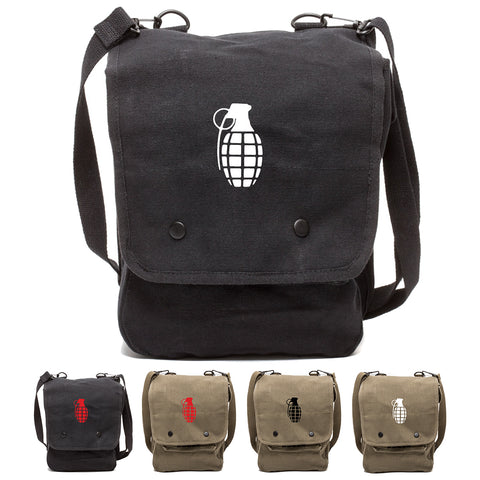 Hand Grenade Canvas Crossbody Travel Map Bag Case
