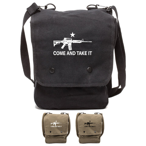 Come and Take it M4 Assault Rifle Canvas Crossbody Travel Map Bag Case