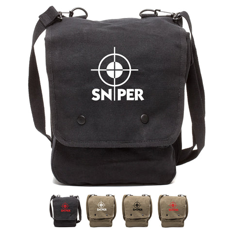 Snipers Scope Canvas Crossbody Travel Map Bag Case