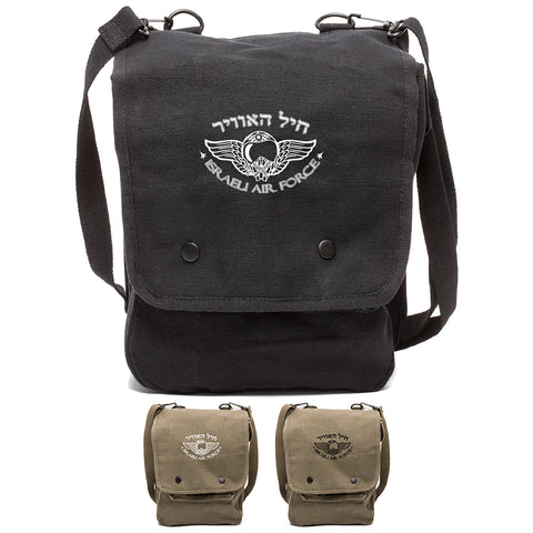 Israeli Air Force Heavyweight Cotton Canvas Crossbody Travel Map Bag Case