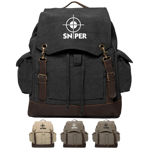 Snipers Scope Vintage Canvas Rucksack Backpack with Leather Straps