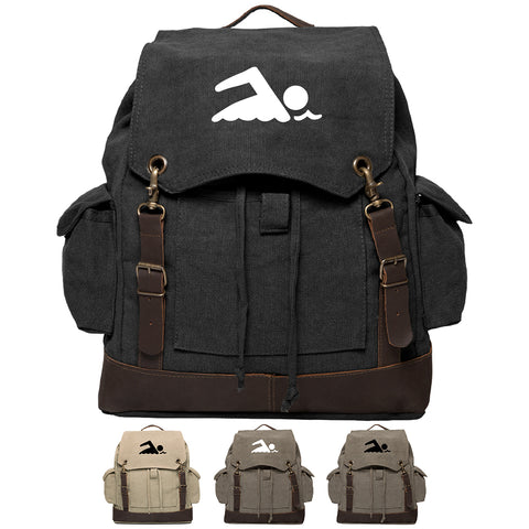 Swimming Swimmer Vintage Canvas Rucksack Backpack with Leather Straps