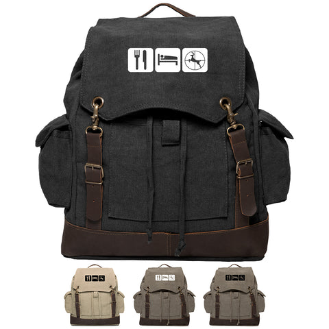 Eat Sleep Hunt Vintage Canvas Rucksack Backpack with Leather Straps
