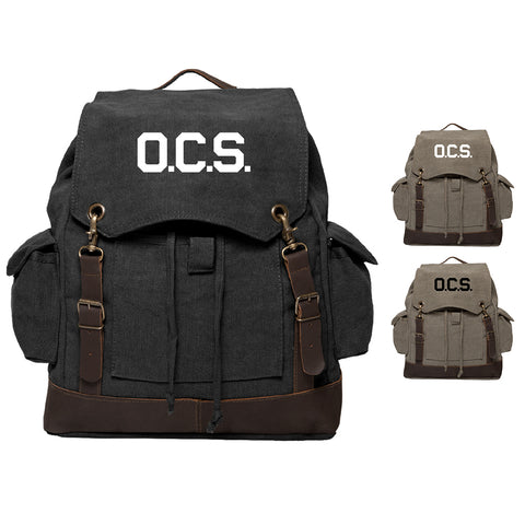 OCS Letters Officer Branch of Service Rucksack Backpack with Leather Straps