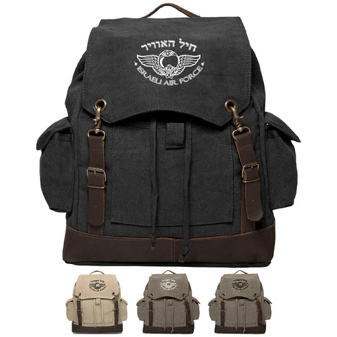 Israeli Air Force Vintage Canvas Rucksack Backpack with Leather Straps